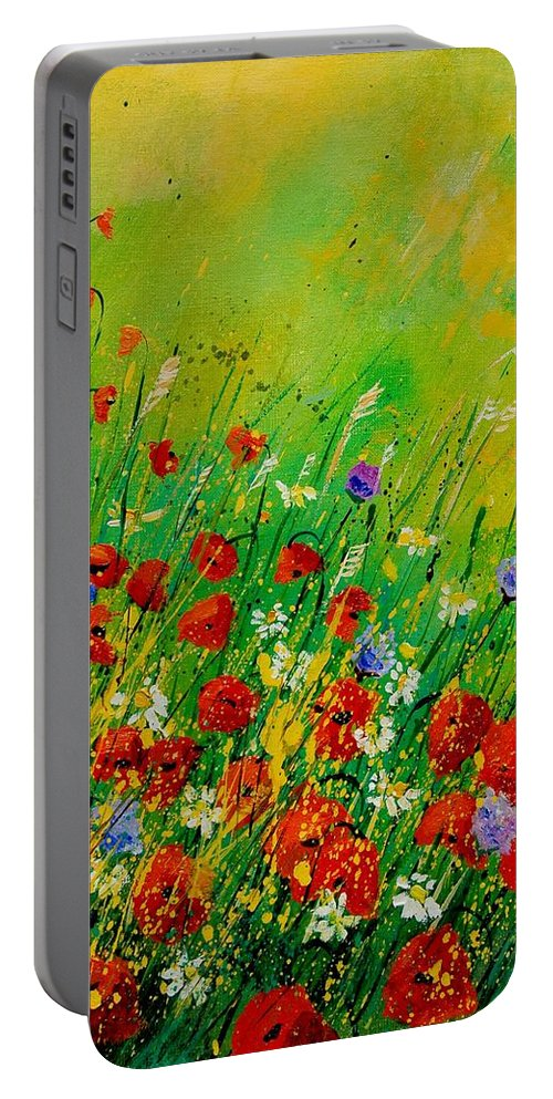 Flowers Portable Battery Charger featuring the painting Red Poppies 450708 by Pol Ledent