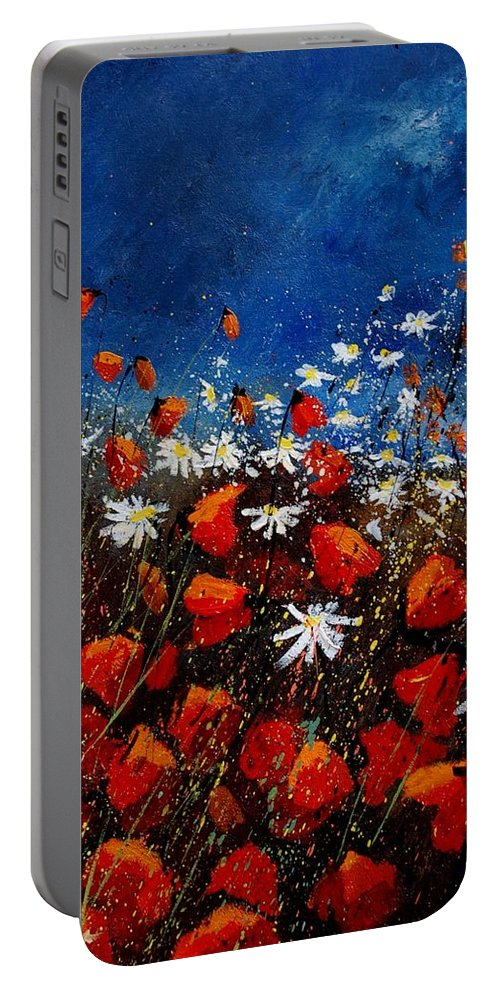Flowers Portable Battery Charger featuring the painting Red Poppies 451108 by Pol Ledent