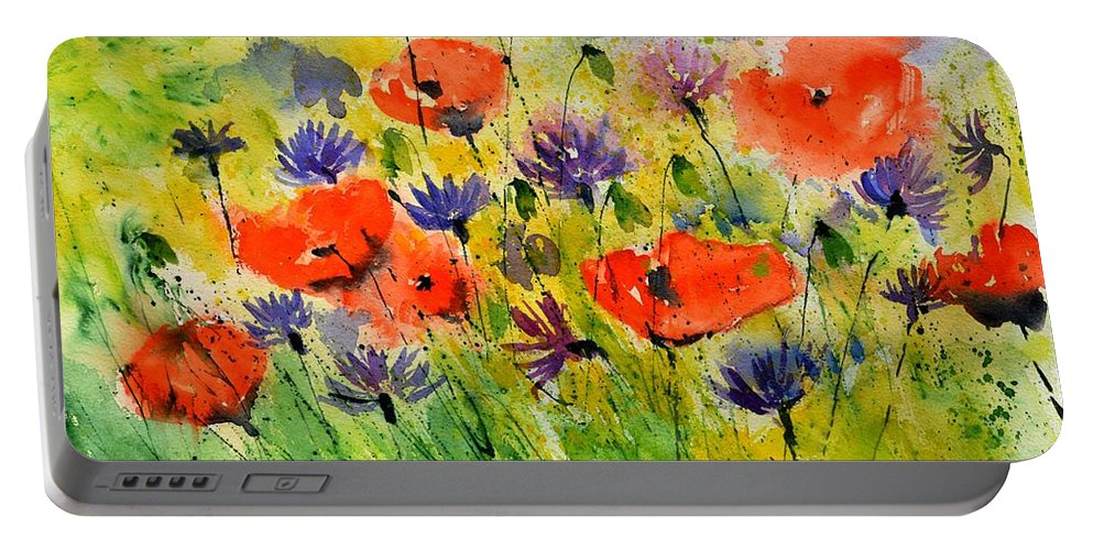 Poppies Portable Battery Charger featuring the painting Red Poppies And Cornflowers by Pol Ledent