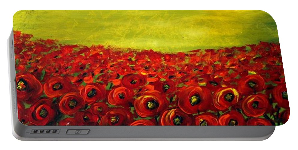 Flowers Portable Battery Charger featuring the painting Red Poppies Field by Luiza Vizoli