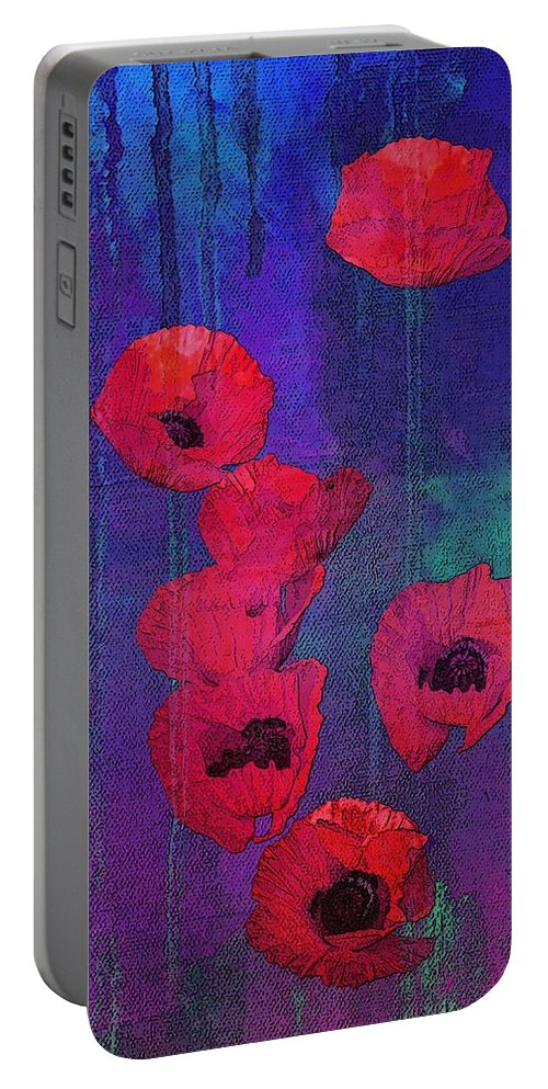 Red Poppies Portable Battery Charger featuring the mixed media Red Poppies by I'ina Van Lawick