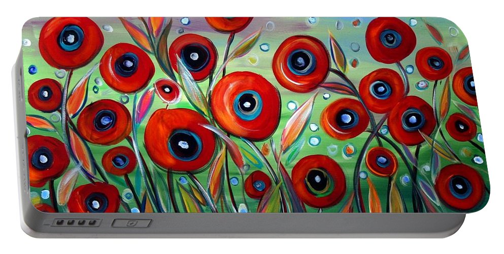 Flowers Portable Battery Charger featuring the painting Red Poppies In Grass by Luiza Vizoli