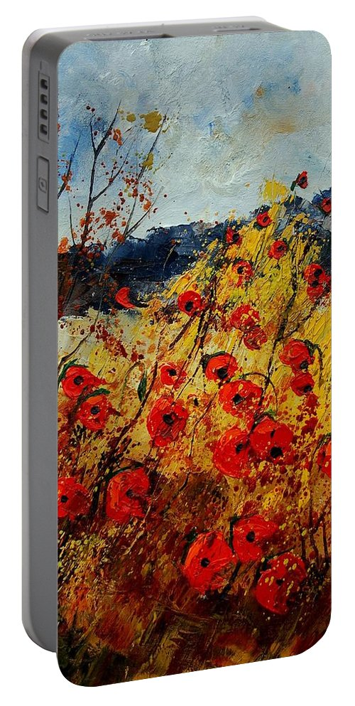 Poppies Portable Battery Charger featuring the painting Red Poppies In Provence by Pol Ledent