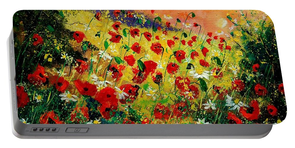 Tree Portable Battery Charger featuring the painting Red Poppies by Pol Ledent