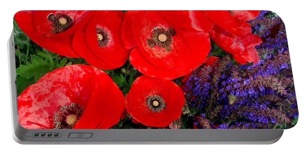 Red Poppy Portable Battery Charger featuring the photograph Red Poppy Cluster With Purple Lavender by Mary Deal