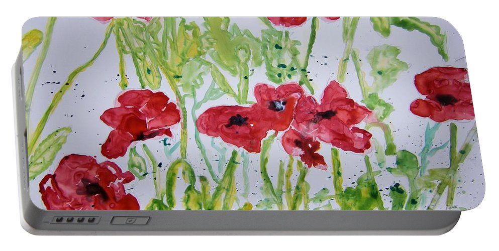 Poppy Portable Battery Charger featuring the painting Red Poppy Flowers by Derek Mccrea
