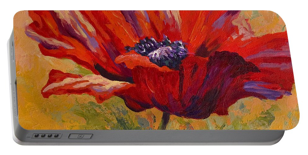 Poppies Portable Battery Charger featuring the painting Red Poppy II by Marion Rose