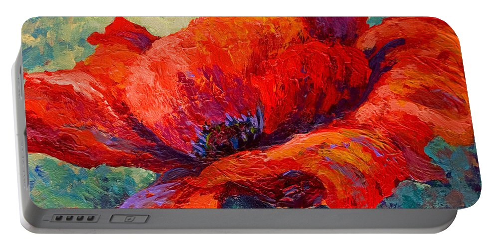 Poppies Portable Battery Charger featuring the painting Red Poppy IIi by Marion Rose