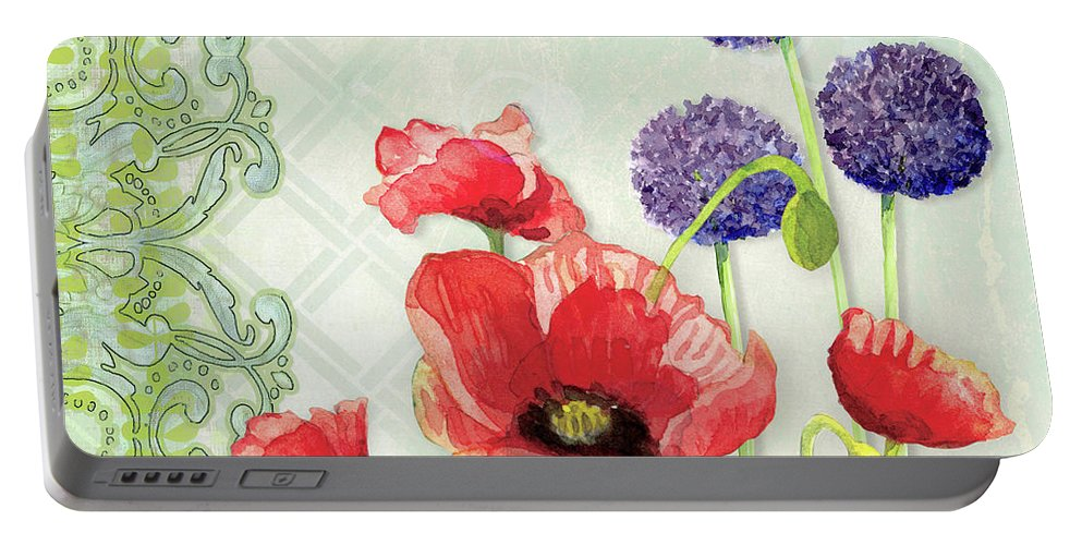 Red Poppy Portable Battery Charger featuring the painting Red Poppy Purple Allium IIi - Retro Modern Patterns by Audrey Jeanne Roberts