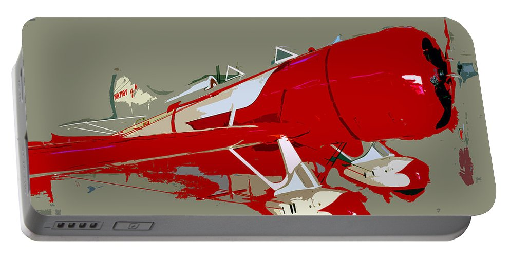 Fast Portable Battery Charger featuring the painting Red Racer by David Lee Thompson