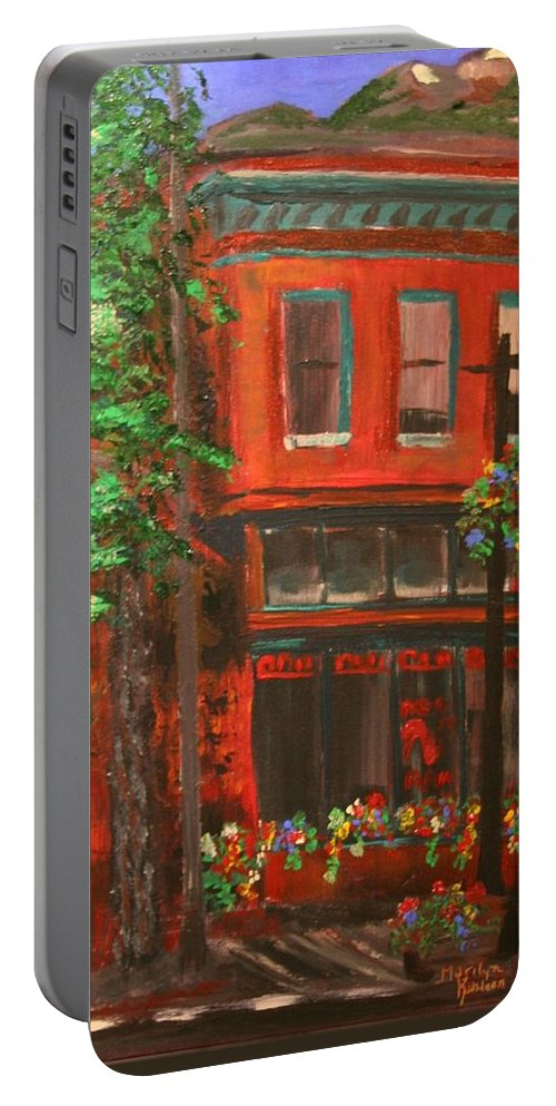 Victorian Buildings Portable Battery Charger featuring the painting Red Ram, Georgetown, Co by Marilyn Quigley