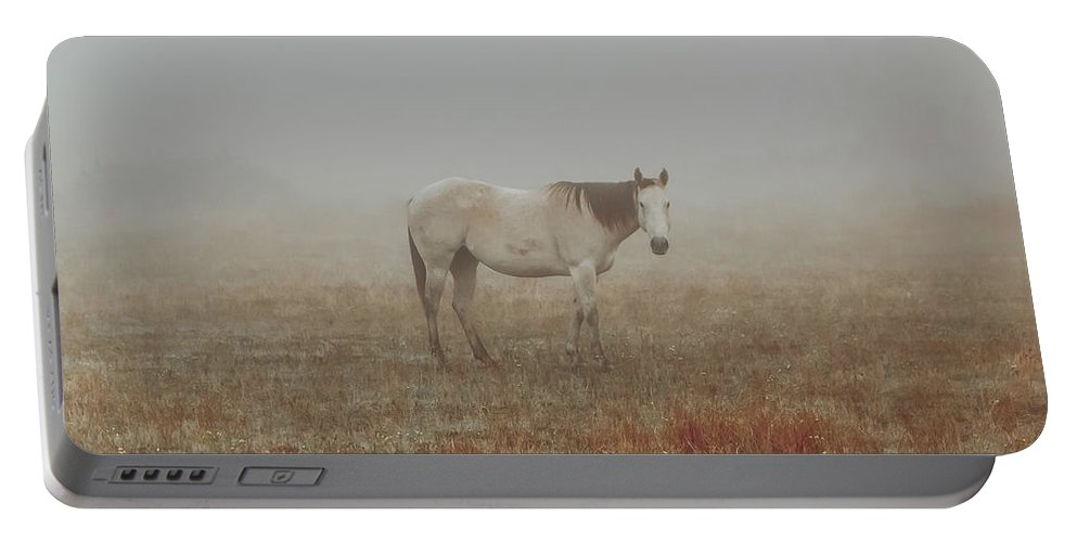 Horse Portable Battery Charger featuring the photograph Red Roan In Mist by Robert Frederick