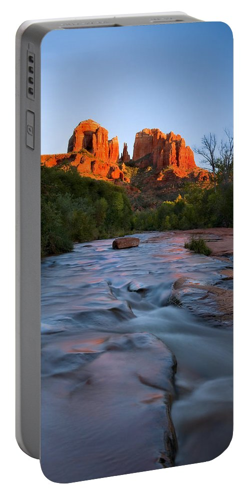 Cathedral Rock Portable Battery Charger featuring the photograph Red Rock Sunset by Mike Dawson