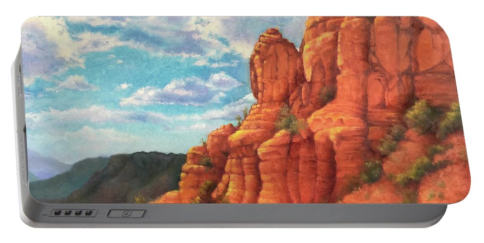 Sedona Portable Battery Charger featuring the painting Red Rocks by Teri Rosario