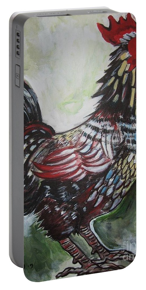 Red Rooster Paintings Portable Battery Charger featuring the painting Red Rooster by Seon-Jeong Kim
