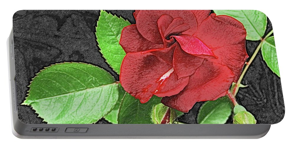 Rose Portable Battery Charger featuring the photograph Red Rose For My Lady by Michael Peychich