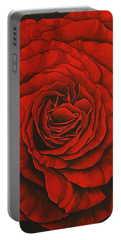 Red Portable Battery Charger featuring the painting Red Rose II by Rowena Finn