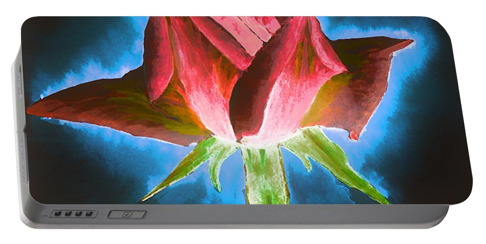 Black Portable Battery Charger featuring the painting Red Rose by Svetlana Sewell
