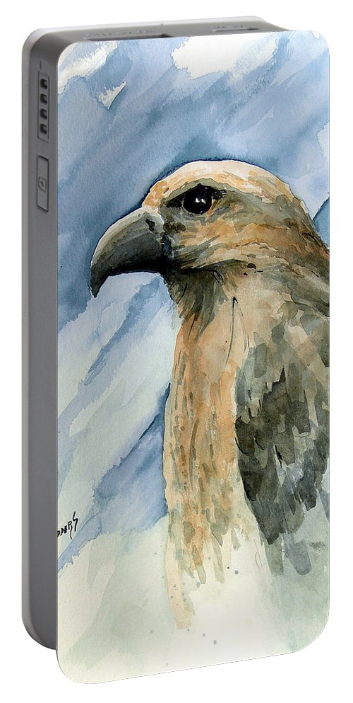 Bird Portable Battery Charger featuring the painting Red by Sam Sidders