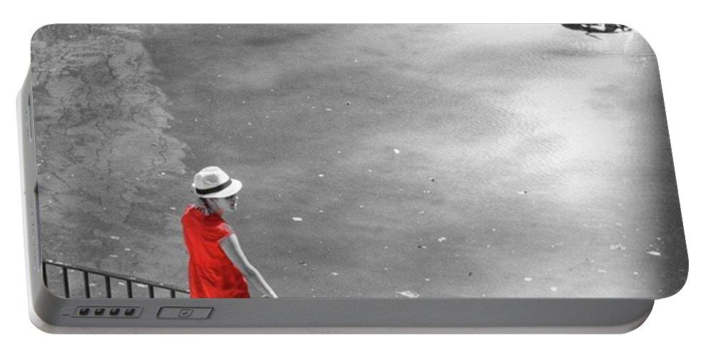 Palmademallorca Portable Battery Charger featuring the photograph Red Shirt, Black Swanla Seu, Palma De by John Edwards