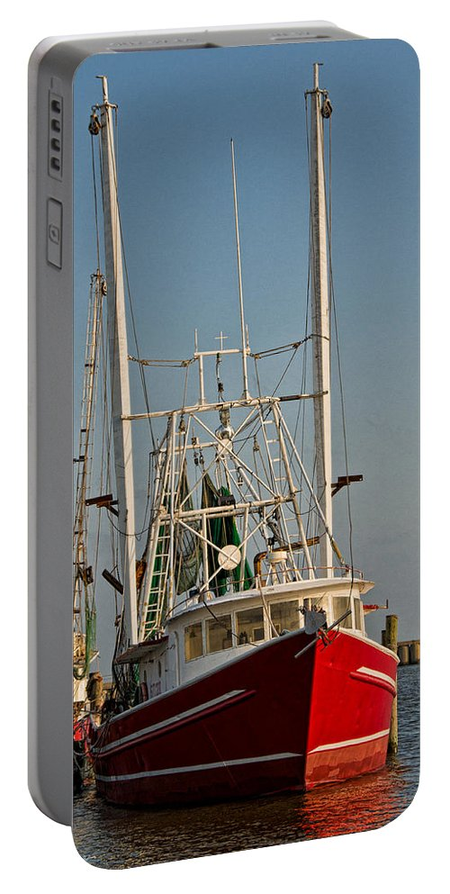 Boat Portable Battery Charger featuring the photograph Red Shrimp Boat by Christopher Holmes