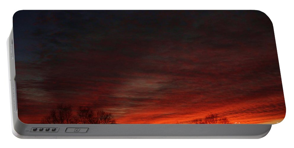 Night Portable Battery Charger featuring the digital art Red Skies At Night by Dan Stone