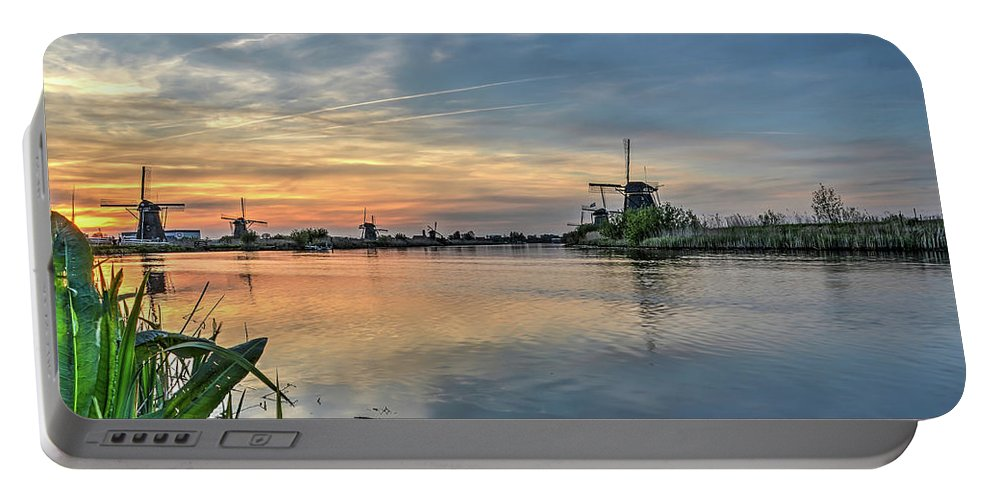 Kinderdijk Portable Battery Charger featuring the photograph Red Skies Over Kinderdijk by Frans Blok