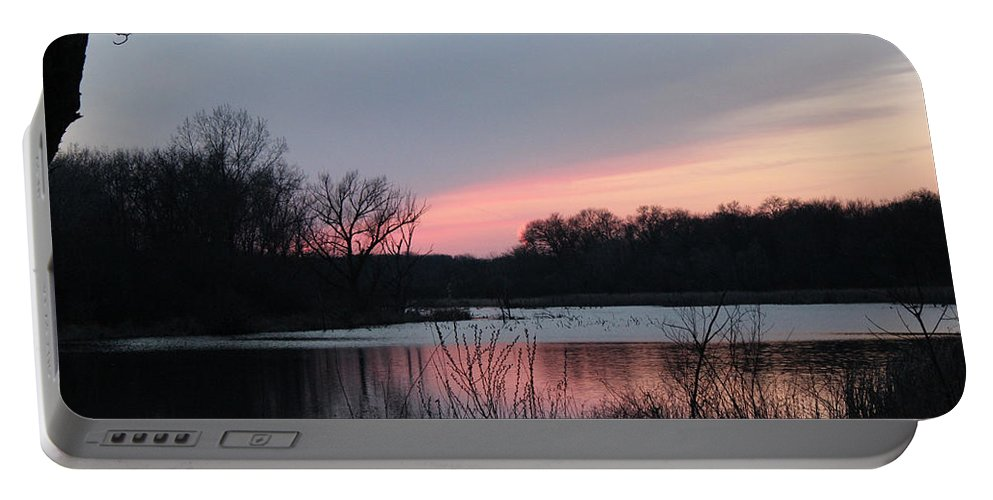 Valley Portable Battery Charger featuring the mixed media Red Sky by Cliff Ball
