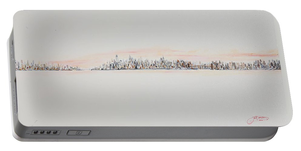 Jack Diamond Portable Battery Charger featuring the painting Red Sky by Jack Diamond