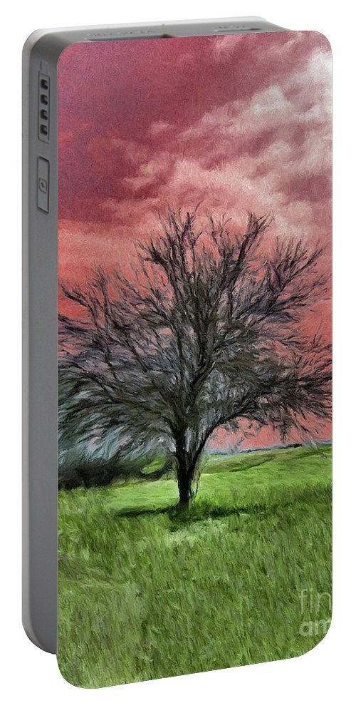 Red Portable Battery Charger featuring the painting Red Sky by Jeffrey Kolker