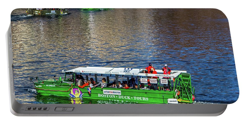 Boston Ma Portable Battery Charger featuring the photograph Red Sox On The Charles by Larry Richardson