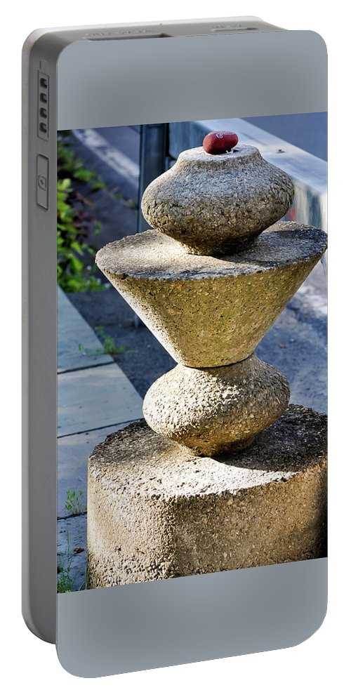 Stone Portable Battery Charger featuring the photograph Red Stone by Marie Moriarity