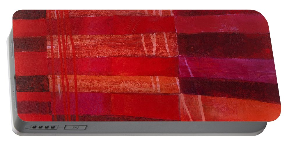 Abstract Art Portable Battery Charger featuring the painting Red Stripes 2 by Jane Davies
