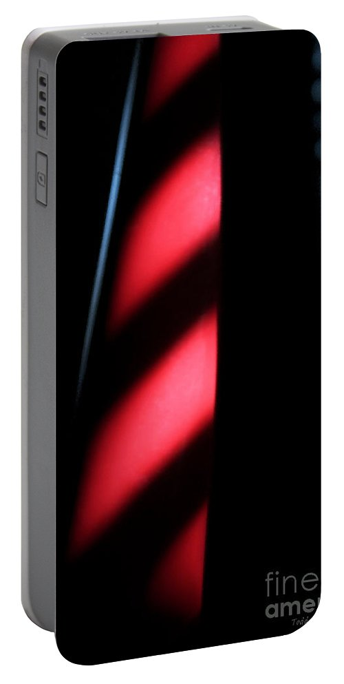 Abstract Portable Battery Charger featuring the digital art Red Stripes by Todd Blanchard