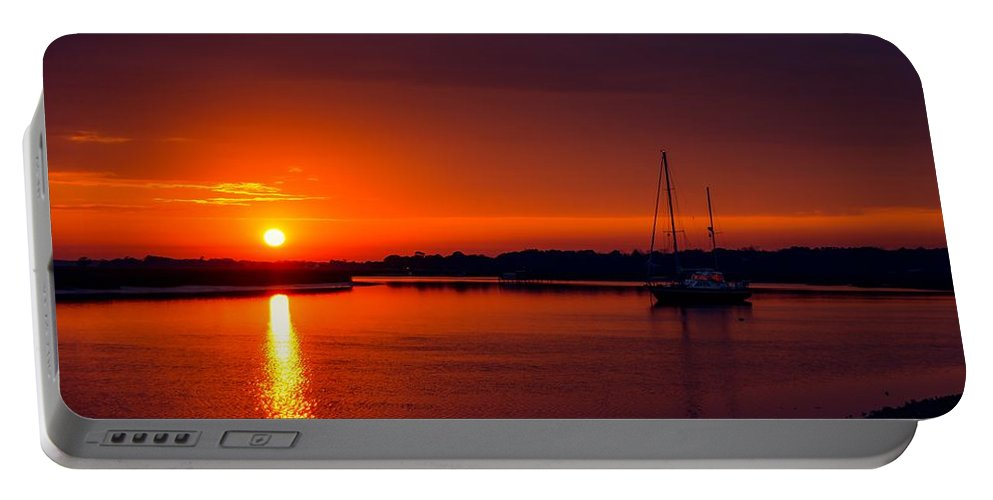 Sunset Portable Battery Charger featuring the photograph Red Sunset by Angela Sherrer