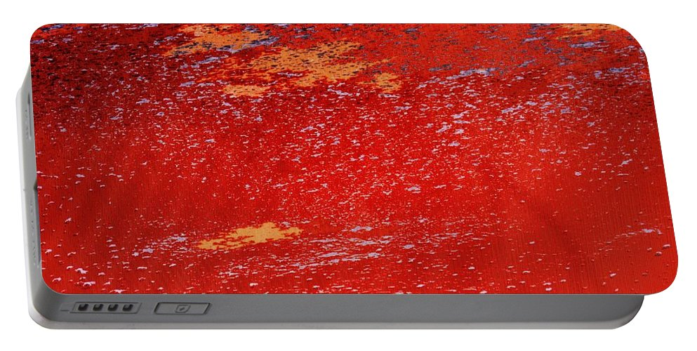 Red Portable Battery Charger featuring the photograph Red Surf On The Beach by Ian MacDonald