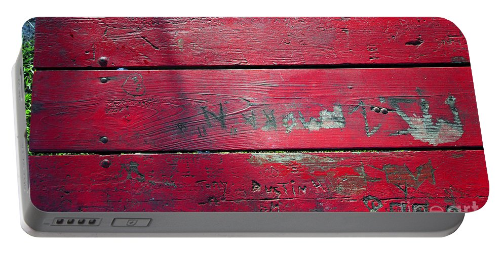 Red Table Portable Battery Charger featuring the photograph Red Table by David Lee Thompson