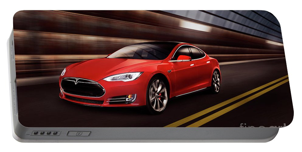 Tesla Portable Battery Charger featuring the photograph Red Tesla Model S Red Luxury Electric Car Speeding In A Tunnel by Maxim Images Prints
