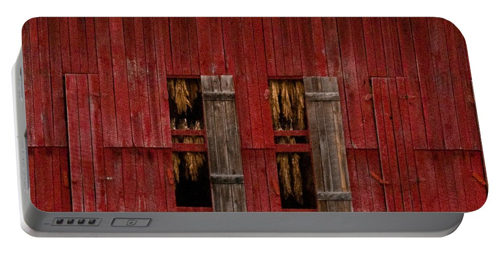 Tobacco Portable Battery Charger featuring the photograph Red Tobacco Barn by Douglas Barnett