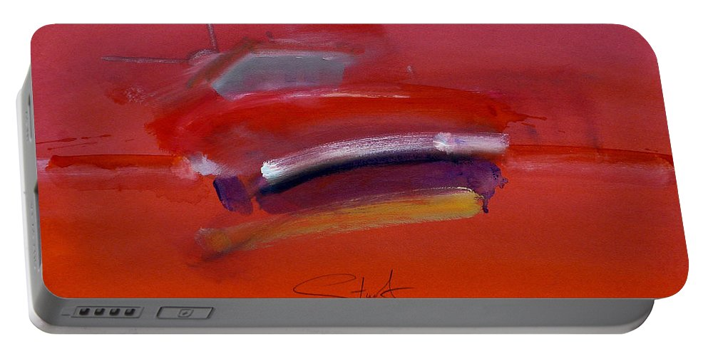 Fishing Boats Portable Battery Charger featuring the painting Red Trawler by Charles Stuart