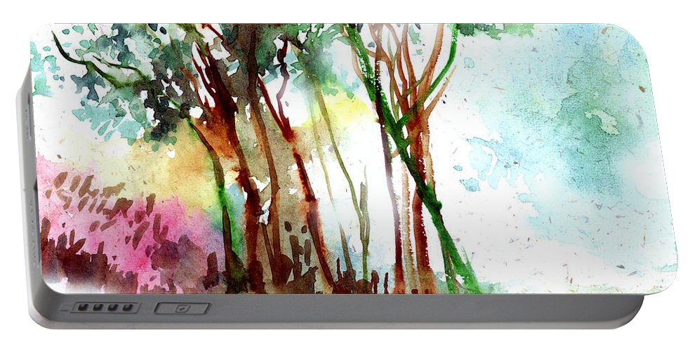 Landscape Portable Battery Charger featuring the painting Red Trees by Anil Nene