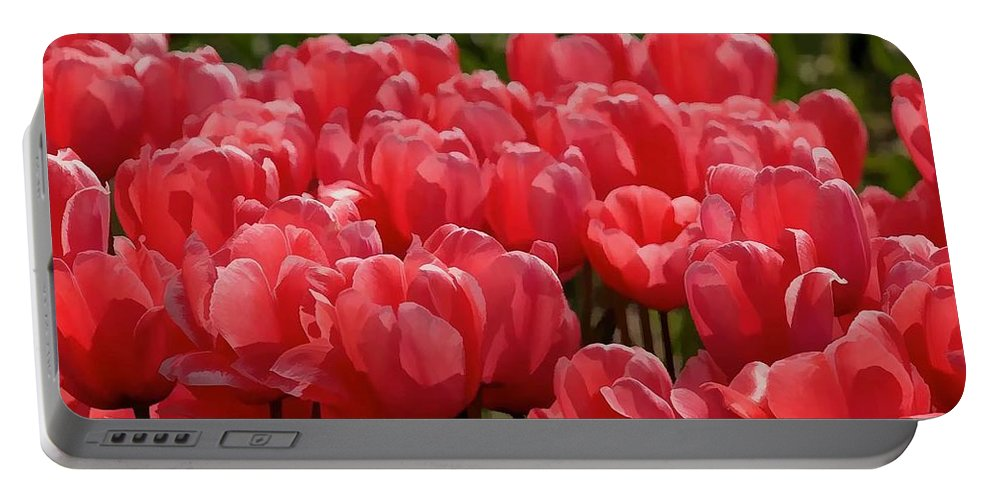 Red Tulip Buds Crest The Earth Portable Battery Charger featuring the painting Red Tulip Buds Crest The Earth by Jeelan Clark