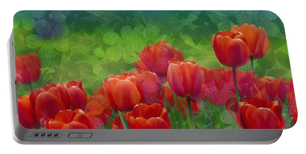 Tulips Portable Battery Charger featuring the mixed media Red Tulips by Georgiana Romanovna