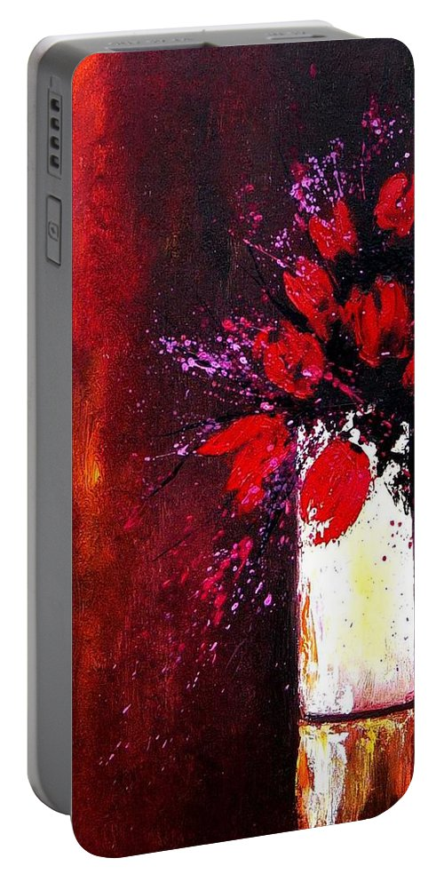 Flowers Portable Battery Charger featuring the painting Red Tulips by Pol Ledent