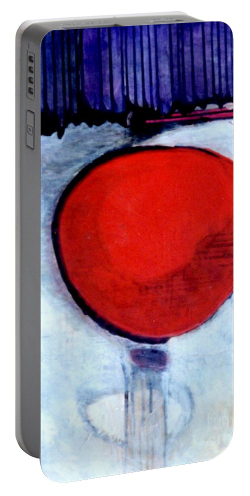 Red Portable Battery Charger featuring the painting Red Twin Jump Start by Marlene Burns