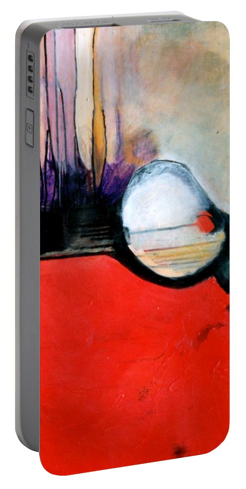 Abstract Portable Battery Charger featuring the painting Red Twin Leaps And Bounds by Marlene Burns