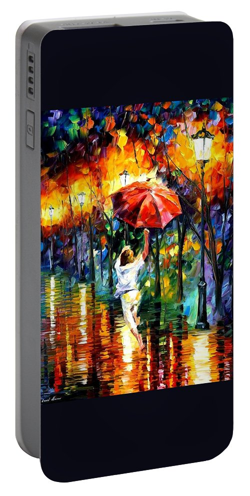 Afremov Portable Battery Charger featuring the painting Red Umbrella by Leonid Afremov