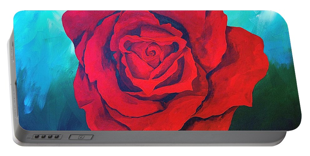 Red Rose Deep Red Rose 3d Ice Rose Portable Battery Charger featuring the painting Red Velvet by Herschel Fall