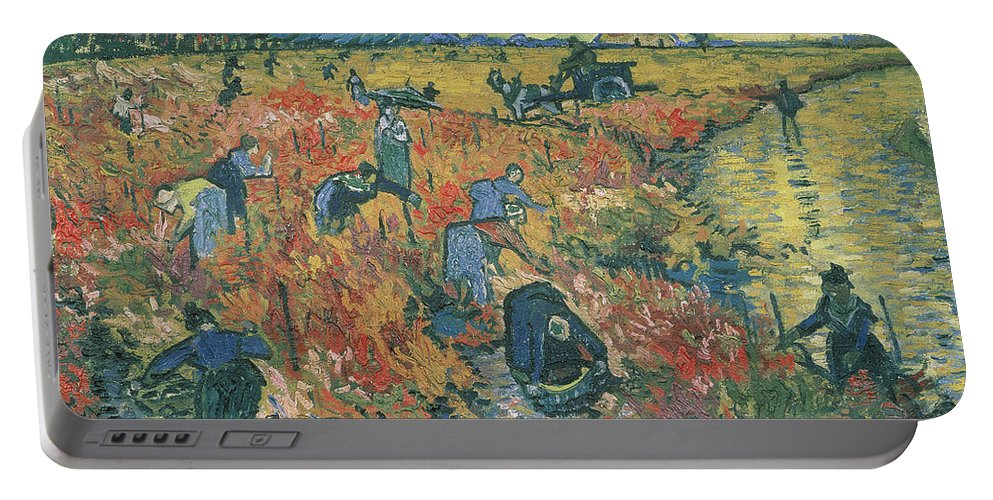 Van Gogh Portable Battery Charger featuring the painting Red Vineyards At Arles by Vincent van Gogh