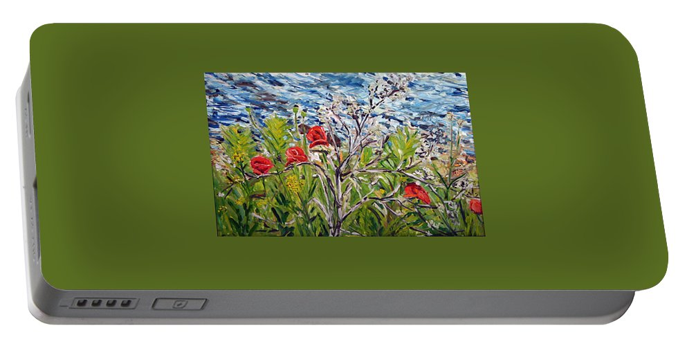 Landscape Portable Battery Charger featuring the painting Red-weed - All by Pablo de Choros